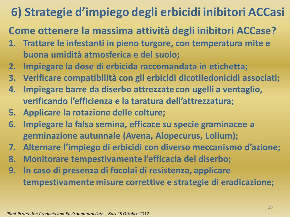6) Strategie d'impiego degli erbicidi inibitori ACCasi Plant Protection Products and Environmental Fate – Bari 25 Ottobre 2012 Come ottenere la massim