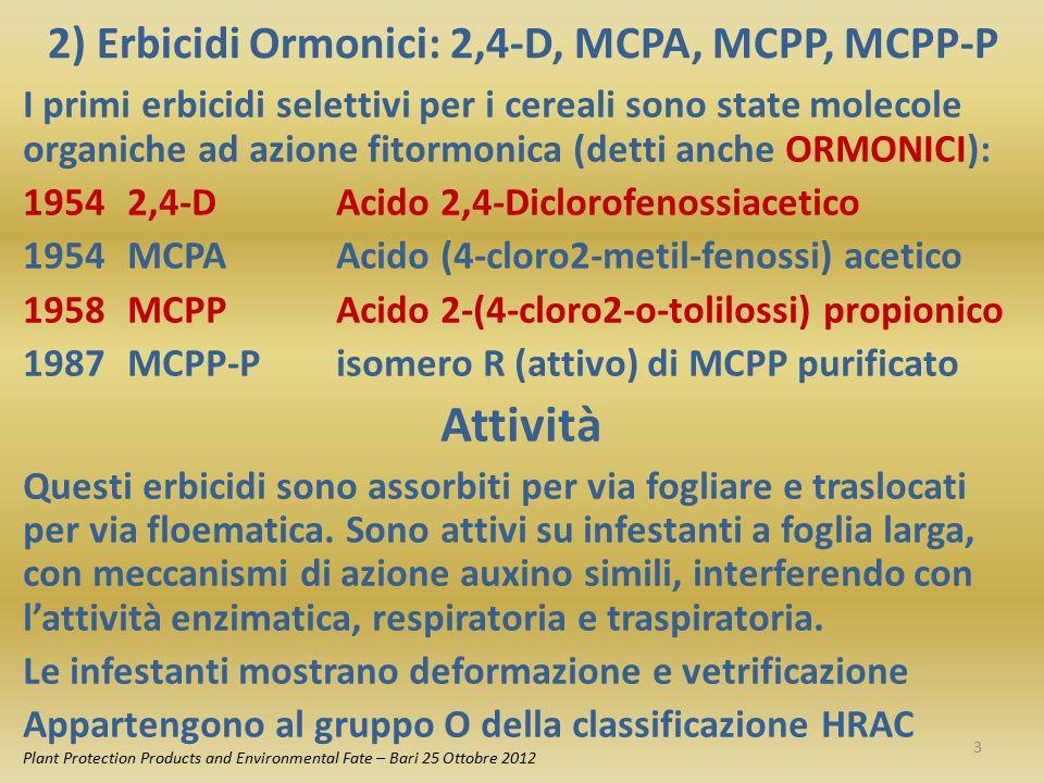 2) Erbicidi Ormonici: 2,4-D, MCPA, MCPP, MCPP-P I primi erbicidi selettivi per i cereali sono state molecole organiche ad azione fitormonica (detti an
