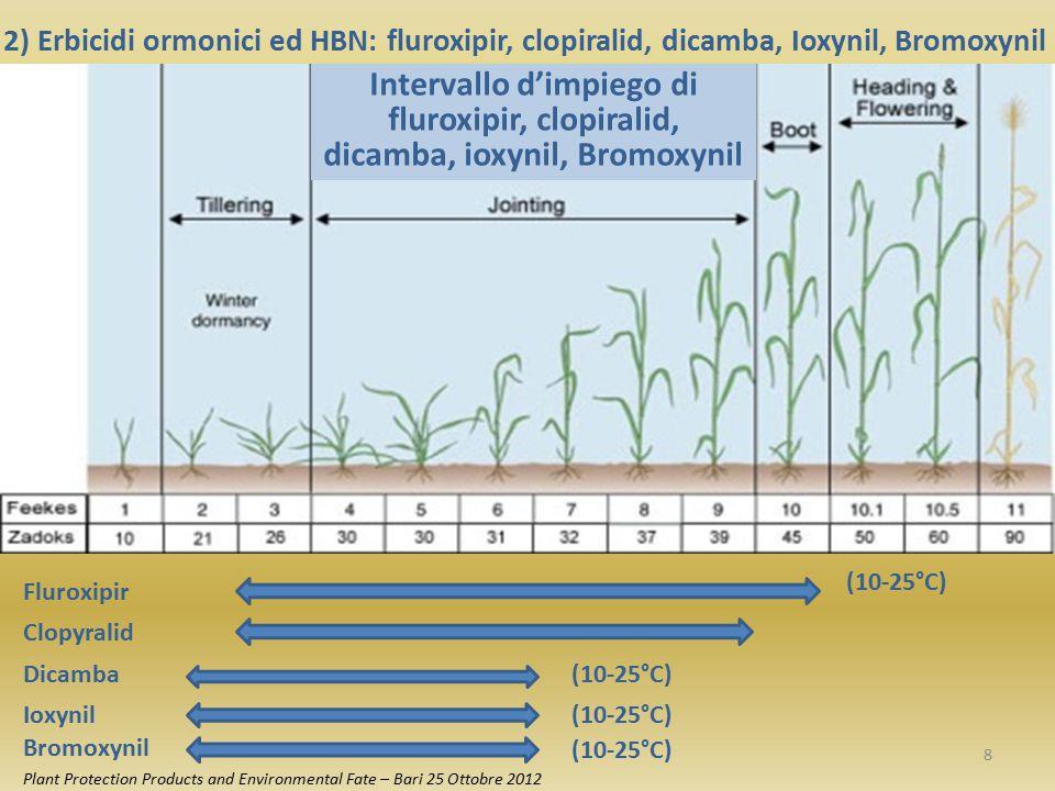 Fluroxipir Clopyralid Dicamba 2) Erbicidi ormonici ed HBN: fluroxipir, clopiralid, dicamba, Ioxynil, Bromoxynil Intervallo d'impiego di fluroxipir, cl