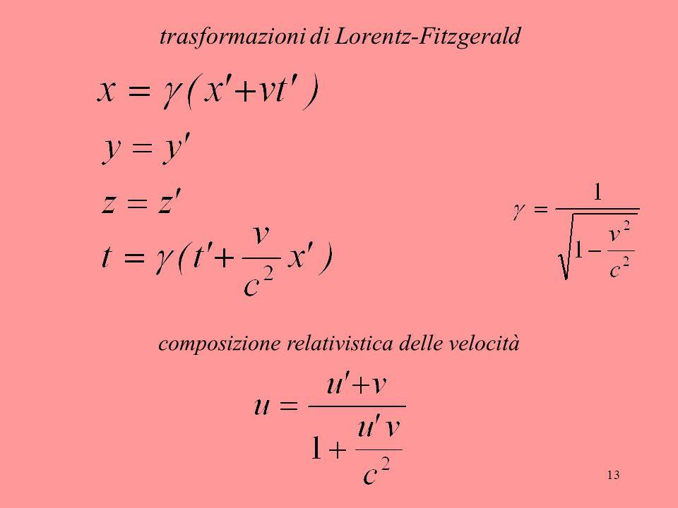 13 trasformazioni di Lorentz-Fitzgerald composizione relativistica delle velocità