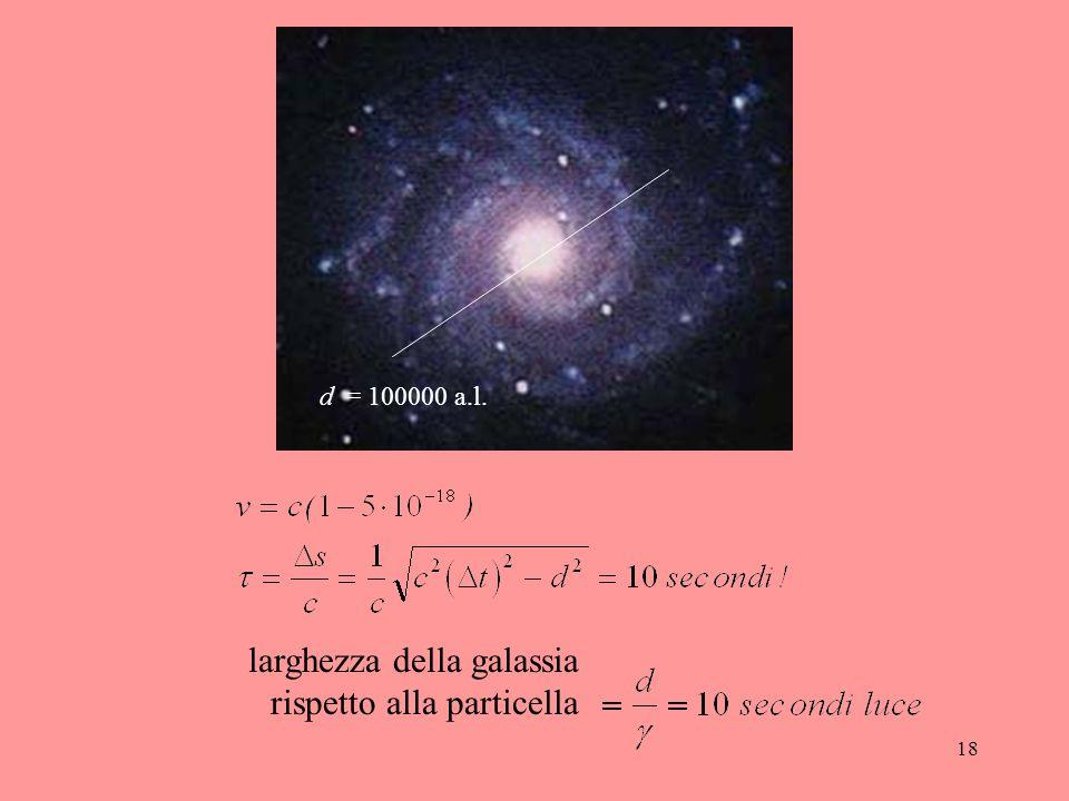 18 d = 100000 a.l. larghezza della galassia rispetto alla particella