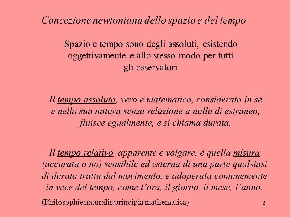 2 Concezione newtoniana dello spazio e del tempo Spazio e tempo sono degli assoluti, esistendo oggettivamente e allo stesso modo per tutti gli osserva