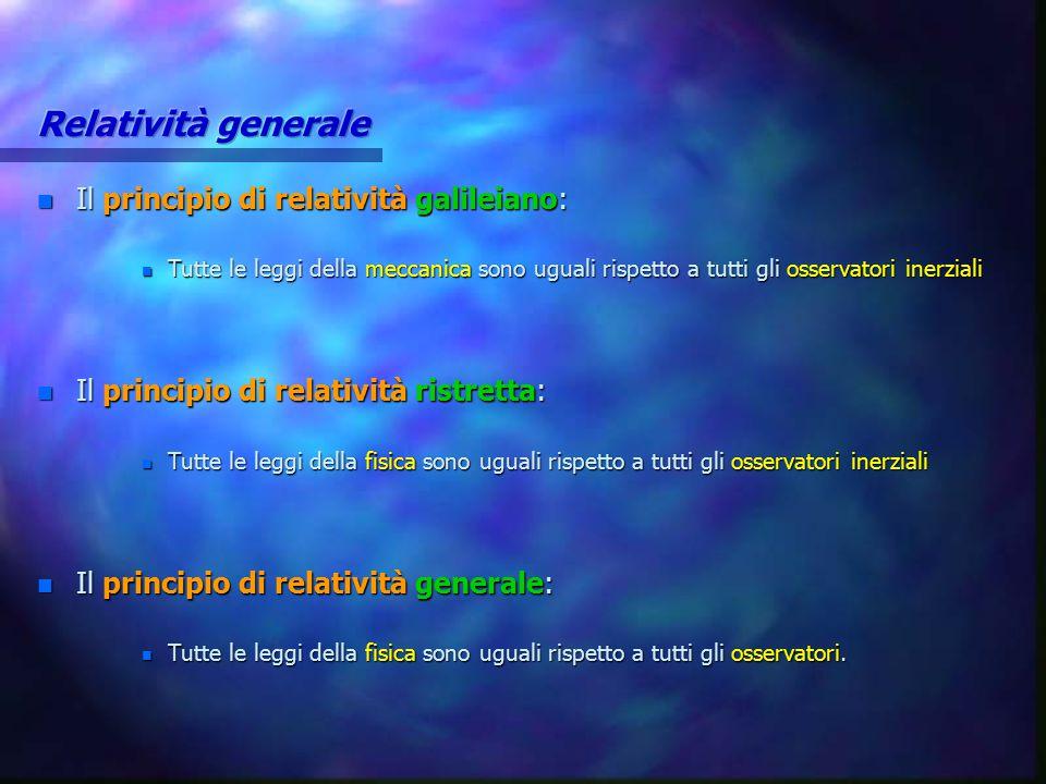 n Il principio di relatività galileiano: n Tutte le leggi della meccanica sono uguali rispetto a tutti gli osservatori inerziali n Il principio di rel
