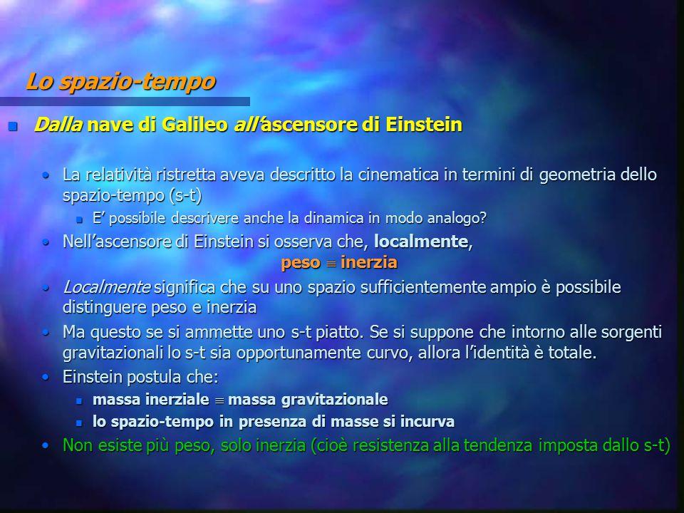 Lo spazio-tempo n Dalla nave di Galileo all'ascensore di Einstein La relatività ristretta aveva descritto la cinematica in termini di geometria dello