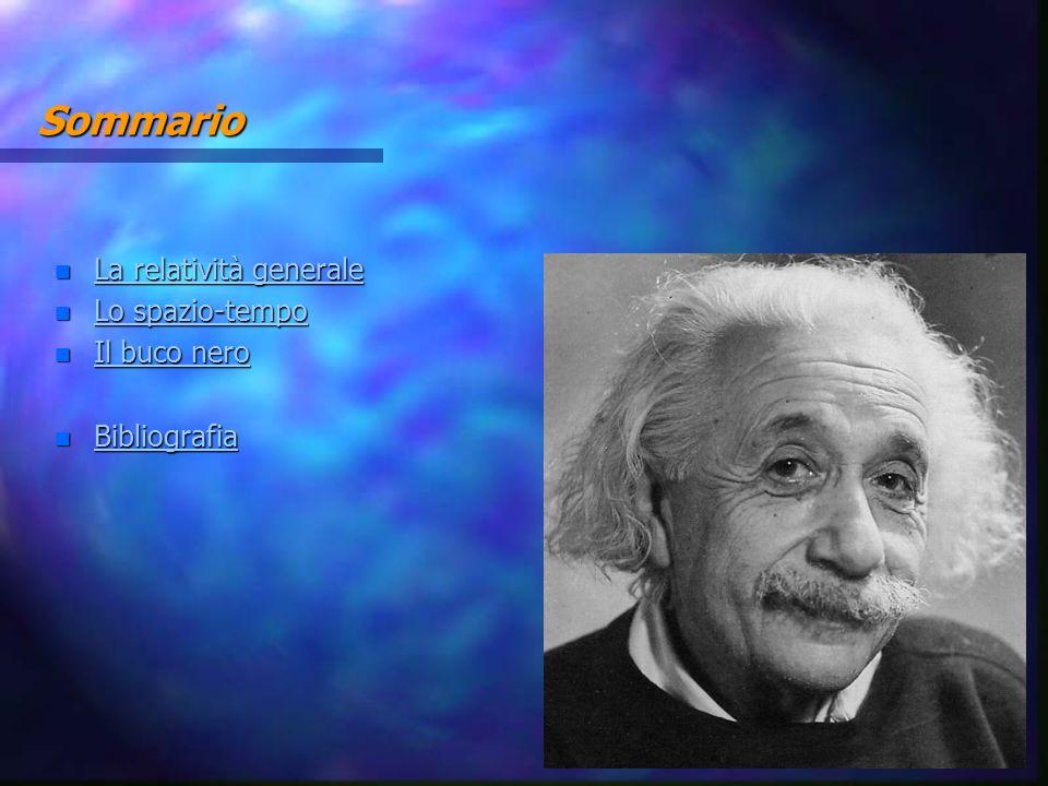 Sommario n La relatività generale La relatività generale La relatività generale n Lo spazio-tempo Lo spazio-tempo Lo spazio-tempo n Il buco nero Il bu