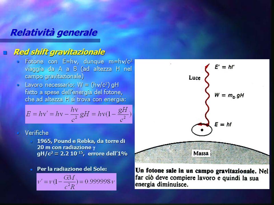 n Red shift gravitazionale Fotone con E=h, dunque m=h /c 2 viaggia da A a B (ad altezza H nel campo gravitazionale)Fotone con E=h, dunque m=h /c 2 via