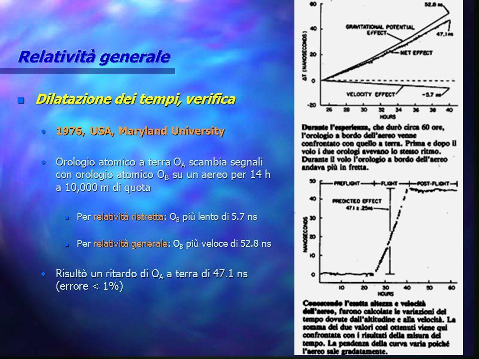 n Dilatazione dei tempi, verifica 1976, USA, Maryland University1976, USA, Maryland University Orologio atomico a terra O A scambia segnali con orolog
