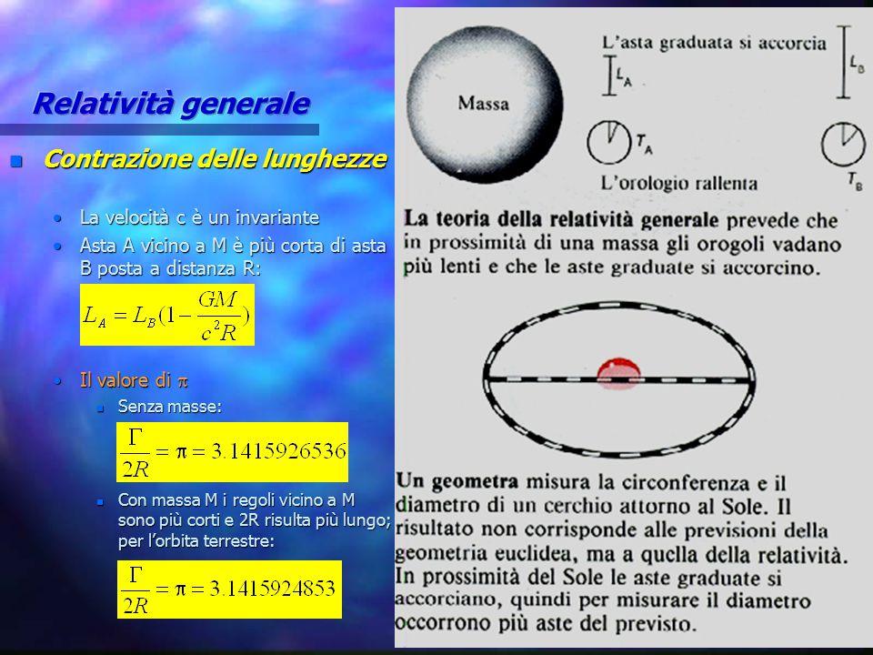n Contrazione lunghezze Altra interpretazione: i regoli sono tutti uguali, ma lo spazio è curvoAltra interpretazione: i regoli sono tutti uguali, ma lo spazio è curvo La geometria euclidea è falsa vicino alle masseLa geometria euclidea è falsa vicino alle masse 1965, USA, esperimento di Shapiro1965, USA, esperimento di Shapiro n Terra e Venere in opposizione; segnale radar misura: 2 TV =  orbita T +  orbita V n Se vale relatività i diametri (  /  ) sono maggiori di quelli euclidei n Infatti sono maggiori di 36 km (errore < 1%) –50% per curvatura spazio, 50% per dilatazione tempi vicino a S