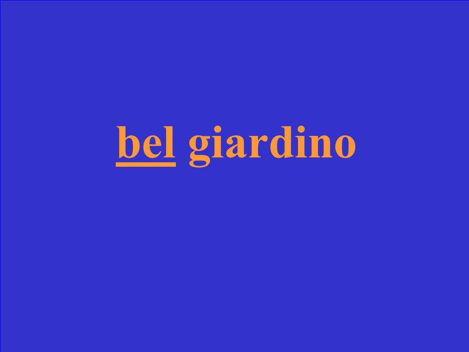 Scrivi la forma corretta di bello _______ giardino