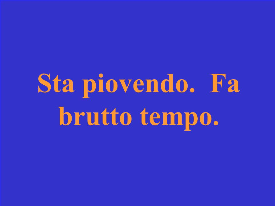 Traduci la frase in italiano. It is raining right now. It is ugly weather.