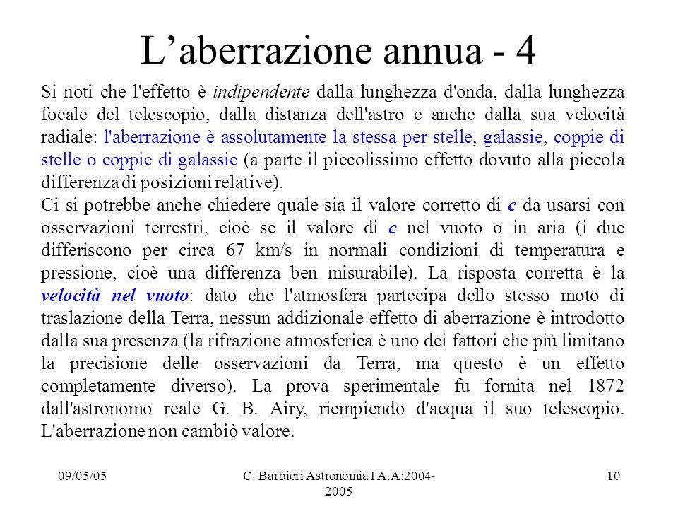 09/05/05C. Barbieri Astronomia I A.A:2004- 2005 10 L'aberrazione annua - 4 Si noti che l'effetto è indipendente dalla lunghezza d'onda, dalla lunghezz
