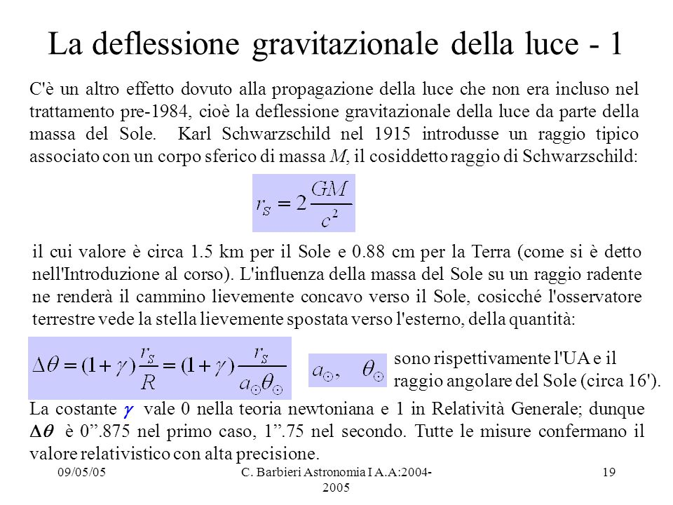 09/05/05C. Barbieri Astronomia I A.A:2004- 2005 19 La deflessione gravitazionale della luce - 1 C'è un altro effetto dovuto alla propagazione della lu
