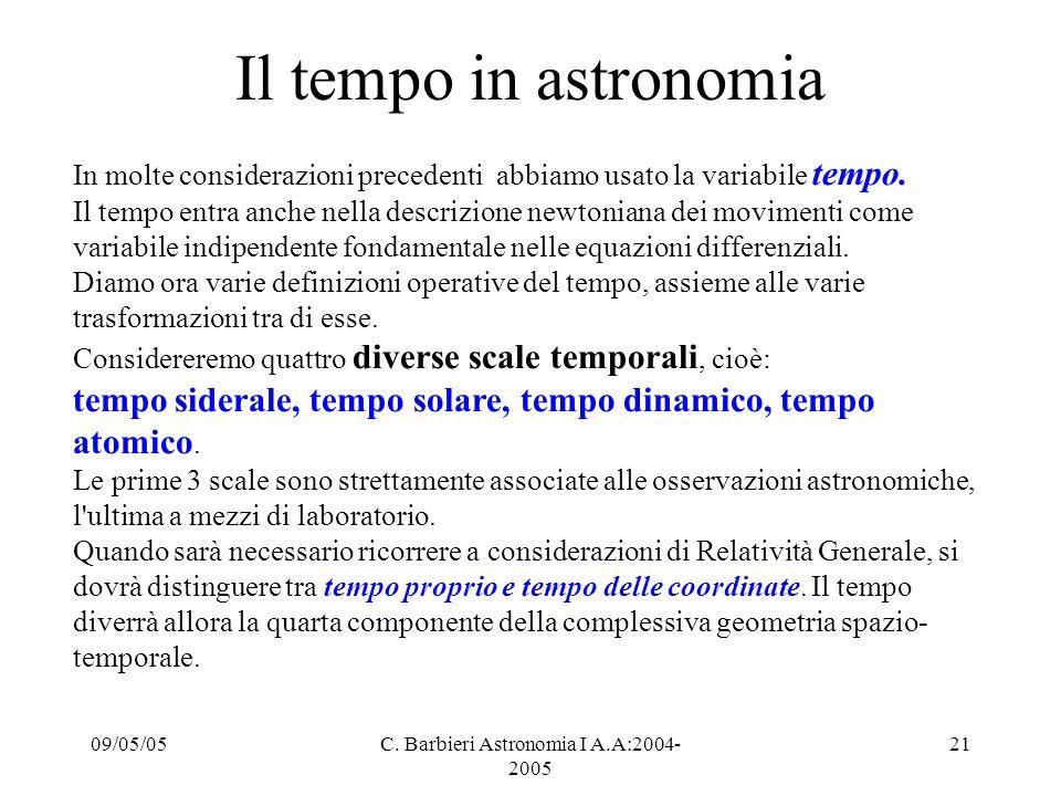 09/05/05C. Barbieri Astronomia I A.A:2004- 2005 21 Il tempo in astronomia In molte considerazioni precedenti abbiamo usato la variabile tempo. Il temp