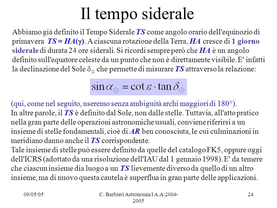 09/05/05C. Barbieri Astronomia I A.A:2004- 2005 24 Il tempo siderale Abbiamo già definito il Tempo Siderale TS come angolo orario dell'equinozio di pr