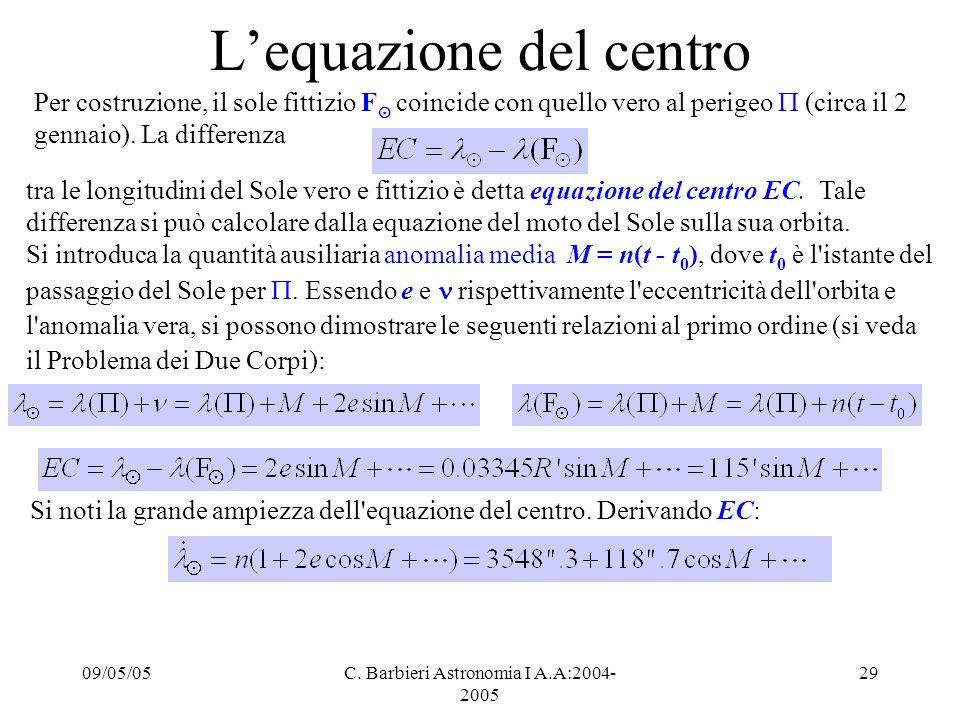 09/05/05C. Barbieri Astronomia I A.A:2004- 2005 29 L'equazione del centro Per costruzione, il sole fittizio F ⊙ coincide con quello vero al perigeo 