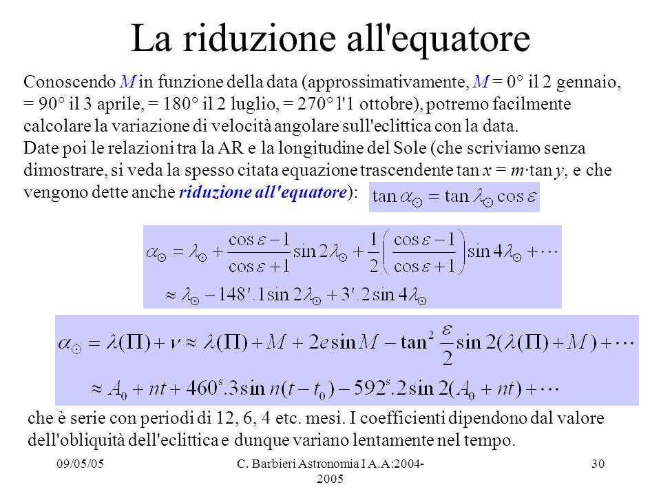 09/05/05C. Barbieri Astronomia I A.A:2004- 2005 30 La riduzione all'equatore Conoscendo M in funzione della data (approssimativamente, M = 0° il 2 gen