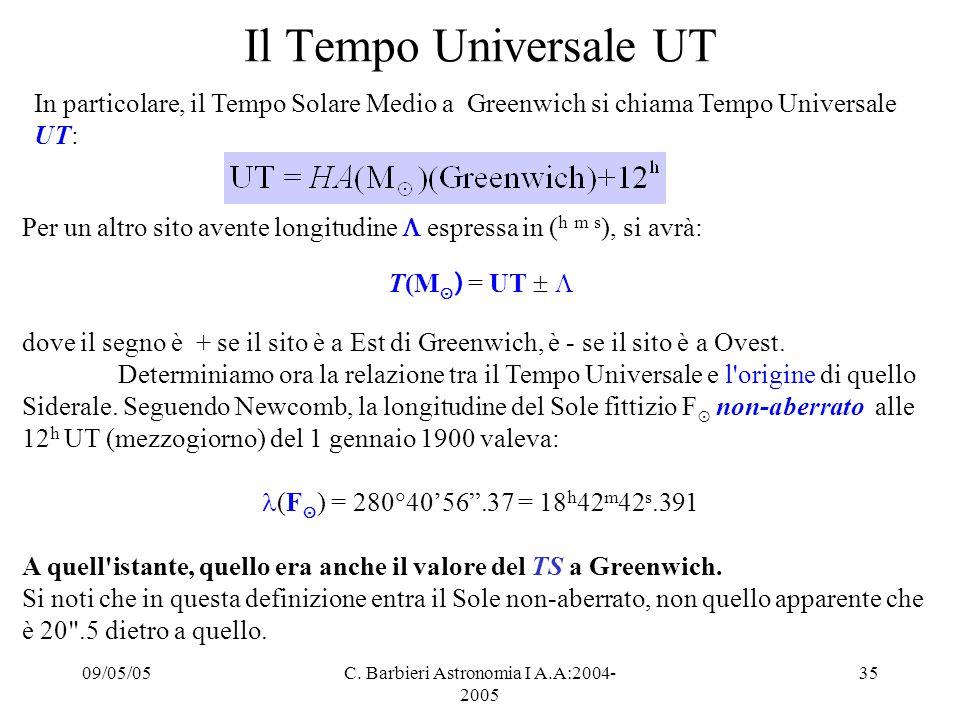 09/05/05C. Barbieri Astronomia I A.A:2004- 2005 35 Il Tempo Universale UT Per un altro sito avente longitudine  espressa in ( h m s ), si avrà: T(M ⊙