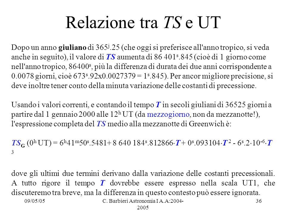 09/05/05C. Barbieri Astronomia I A.A:2004- 2005 36 Relazione tra TS e UT Dopo un anno giuliano di 365 j.25 (che oggi si preferisce all'anno tropico, s