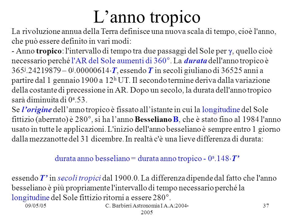 09/05/05C. Barbieri Astronomia I A.A:2004- 2005 37 L'anno tropico La rivoluzione annua della Terra definisce una nuova scala di tempo, cioè l'anno, ch