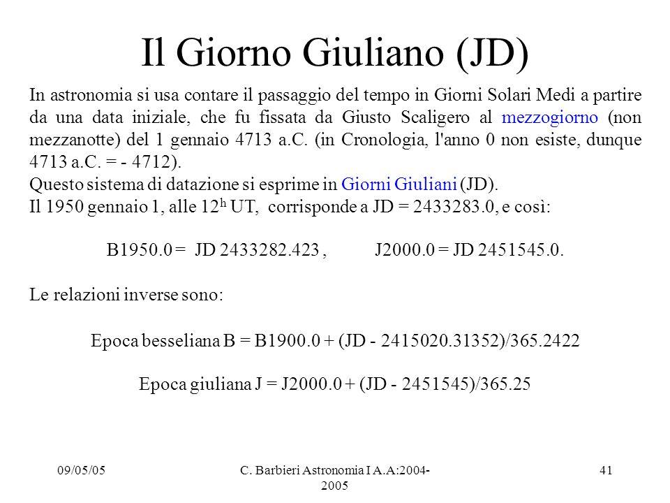09/05/05C. Barbieri Astronomia I A.A:2004- 2005 41 Il Giorno Giuliano (JD) In astronomia si usa contare il passaggio del tempo in Giorni Solari Medi a