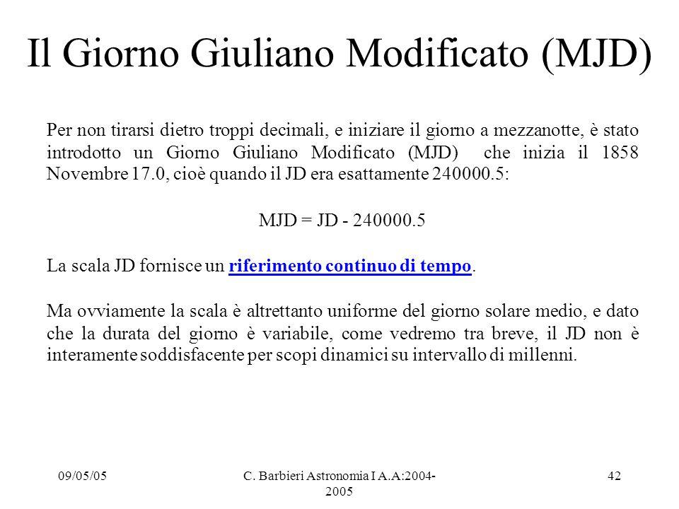 09/05/05C. Barbieri Astronomia I A.A:2004- 2005 42 Il Giorno Giuliano Modificato (MJD) Per non tirarsi dietro troppi decimali, e iniziare il giorno a