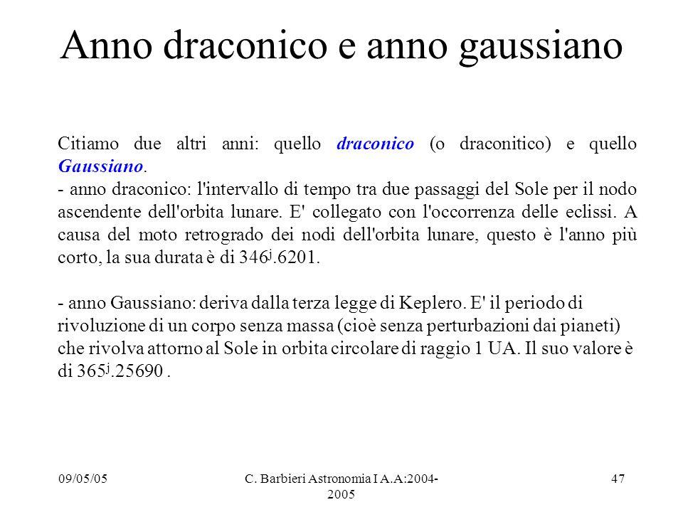 09/05/05C. Barbieri Astronomia I A.A:2004- 2005 47 Anno draconico e anno gaussiano Citiamo due altri anni: quello draconico (o draconitico) e quello G