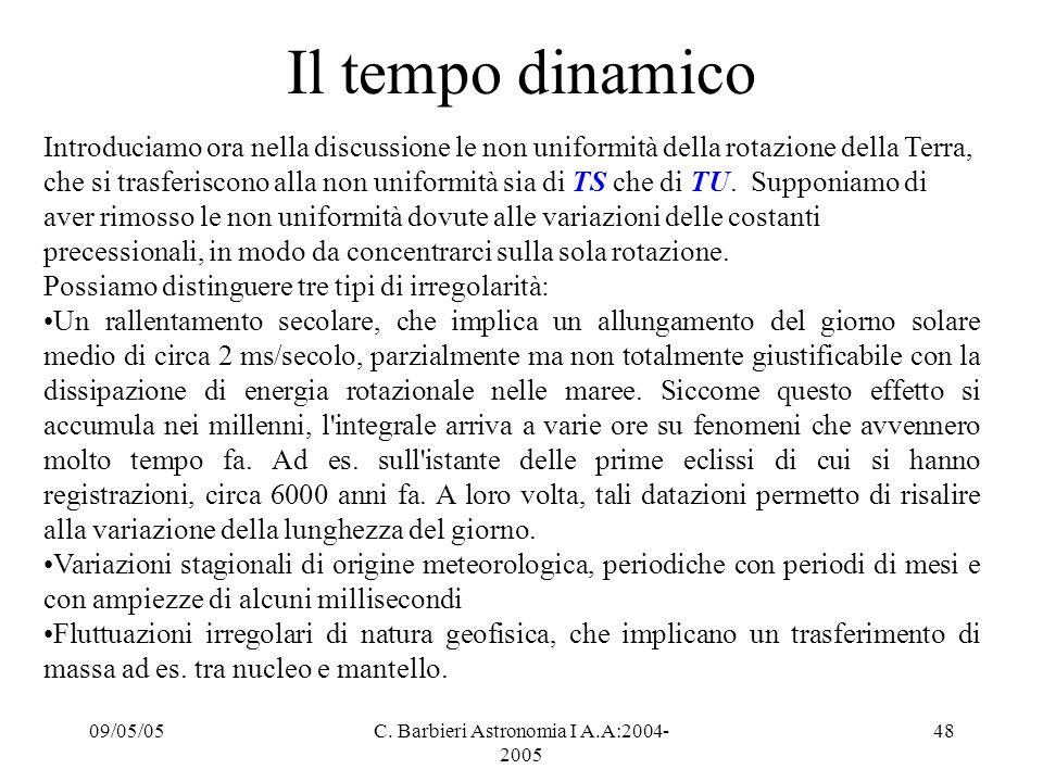 09/05/05C. Barbieri Astronomia I A.A:2004- 2005 48 Il tempo dinamico Introduciamo ora nella discussione le non uniformità della rotazione della Terra,