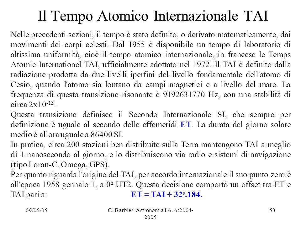 09/05/05C. Barbieri Astronomia I A.A:2004- 2005 53 Il Tempo Atomico Internazionale TAI Nelle precedenti sezioni, il tempo è stato definito, o derivato