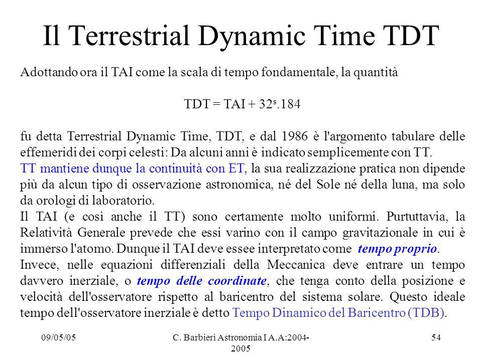 09/05/05C. Barbieri Astronomia I A.A:2004- 2005 54 Il Terrestrial Dynamic Time TDT Adottando ora il TAI come la scala di tempo fondamentale, la quanti