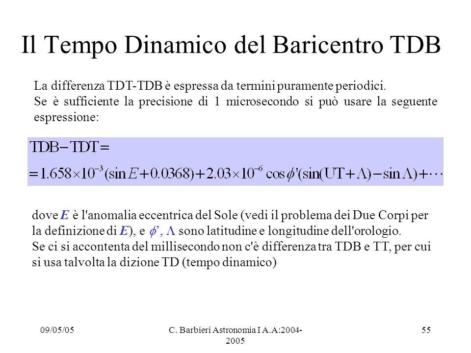 09/05/05C. Barbieri Astronomia I A.A:2004- 2005 55 Il Tempo Dinamico del Baricentro TDB La differenza TDT-TDB è espressa da termini puramente periodic