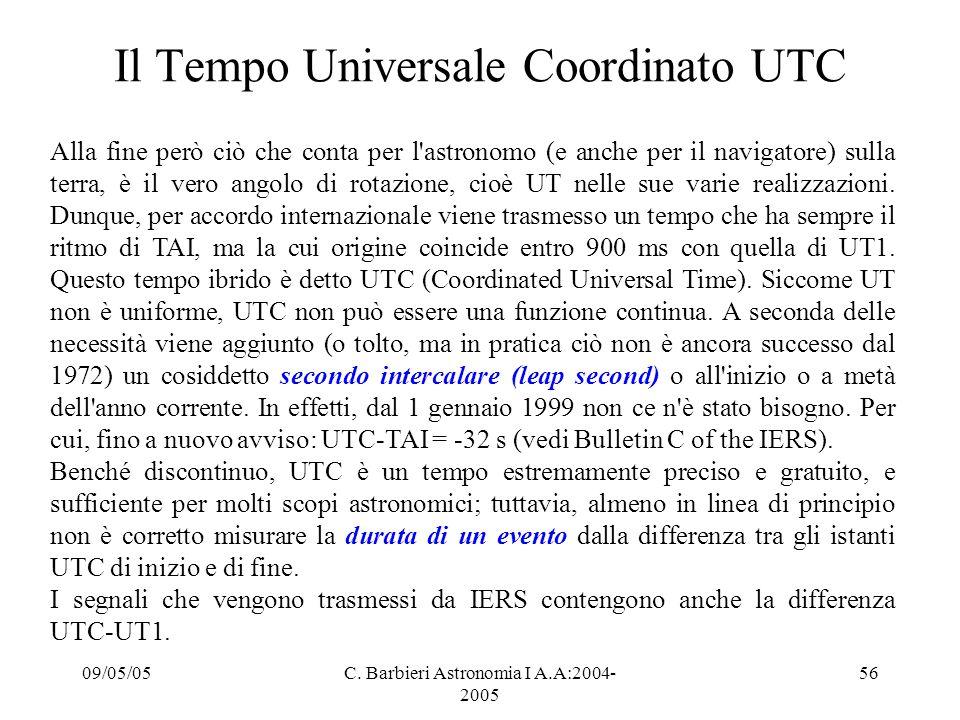 09/05/05C. Barbieri Astronomia I A.A:2004- 2005 56 Il Tempo Universale Coordinato UTC Alla fine però ciò che conta per l'astronomo (e anche per il nav