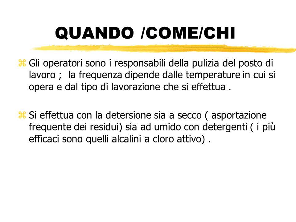 QUANDO /COME/CHI zGli operatori sono i responsabili della pulizia del posto di lavoro ; la frequenza dipende dalle temperature in cui si opera e dal t