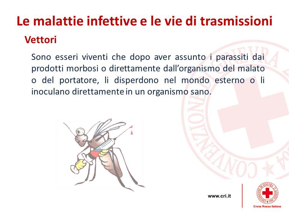 Vettori Le malattie infettive e le vie di trasmissioni Sono esseri viventi che dopo aver assunto i parassiti dai prodotti morbosi o direttamente dall'