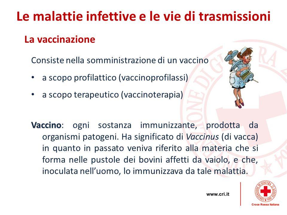 La vaccinazione Le malattie infettive e le vie di trasmissioni Consiste nella somministrazione di un vaccino a scopo profilattico (vaccinoprofilassi)