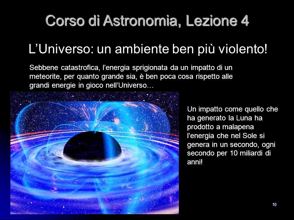 10 L'Universo: un ambiente ben più violento! Corso di Astronomia, Lezione 4 Sebbene catastrofica, l'energia sprigionata da un impatto di un meteorite,