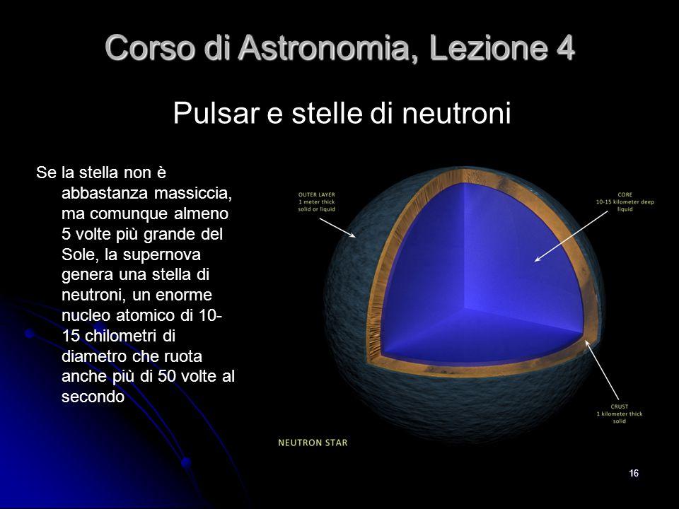 16 Pulsar e stelle di neutroni Corso di Astronomia, Lezione 4 Se la stella non è abbastanza massiccia, ma comunque almeno 5 volte più grande del Sole,