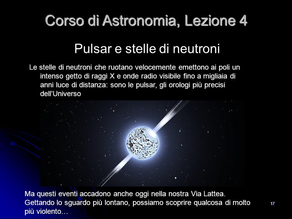 17 Pulsar e stelle di neutroni Corso di Astronomia, Lezione 4 Le stelle di neutroni che ruotano velocemente emettono ai poli un intenso getto di raggi