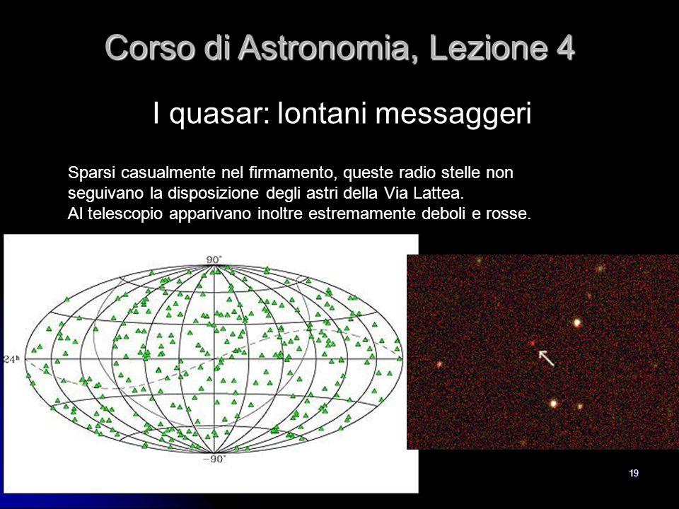 19 I quasar: lontani messaggeri Corso di Astronomia, Lezione 4 Sparsi casualmente nel firmamento, queste radio stelle non seguivano la disposizione de