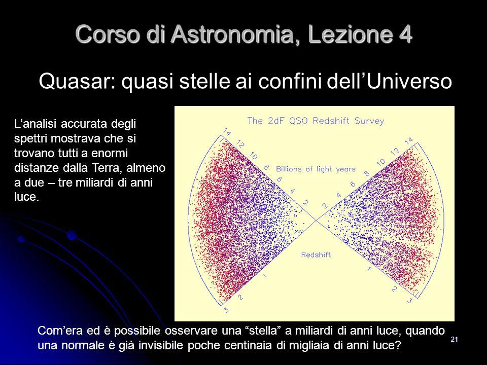 21 Quasar: quasi stelle ai confini dell'Universo Corso di Astronomia, Lezione 4 L'analisi accurata degli spettri mostrava che si trovano tutti a enorm