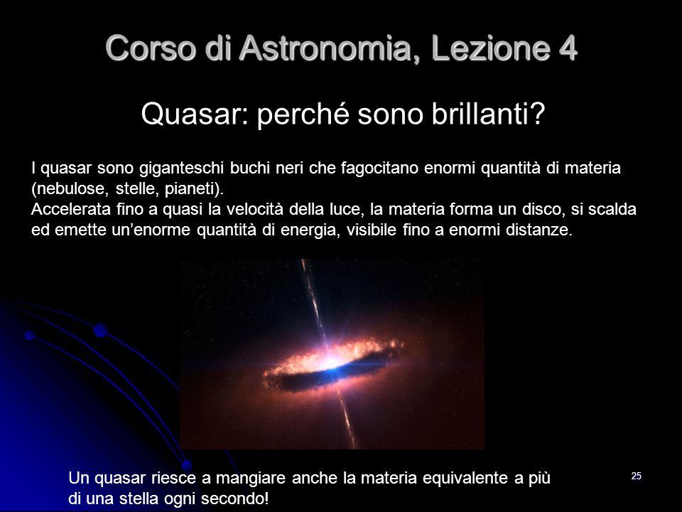 25 Quasar: perché sono brillanti? Corso di Astronomia, Lezione 4 I quasar sono giganteschi buchi neri che fagocitano enormi quantità di materia (nebul