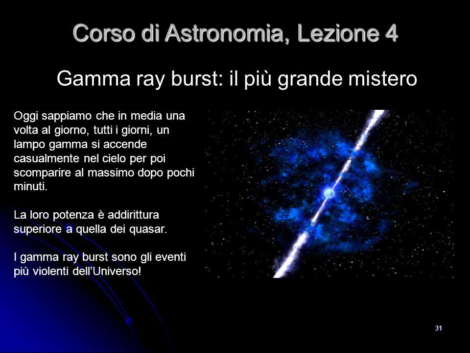 31 Gamma ray burst: il più grande mistero Corso di Astronomia, Lezione 4 Oggi sappiamo che in media una volta al giorno, tutti i giorni, un lampo gamm