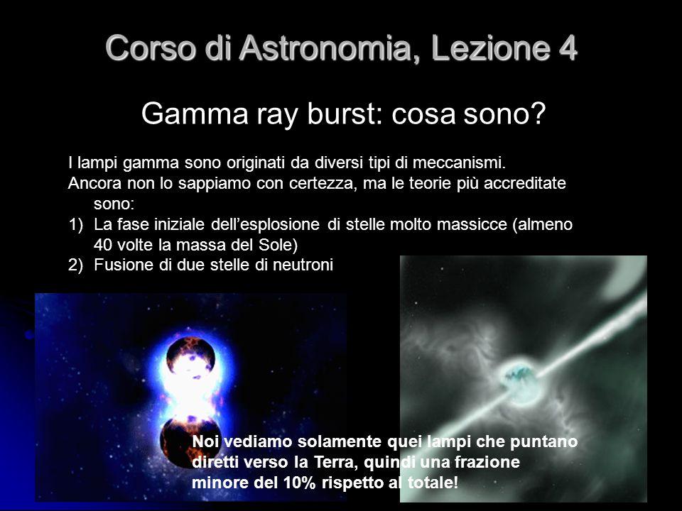 32 Gamma ray burst: cosa sono? Corso di Astronomia, Lezione 4 I lampi gamma sono originati da diversi tipi di meccanismi. Ancora non lo sappiamo con c
