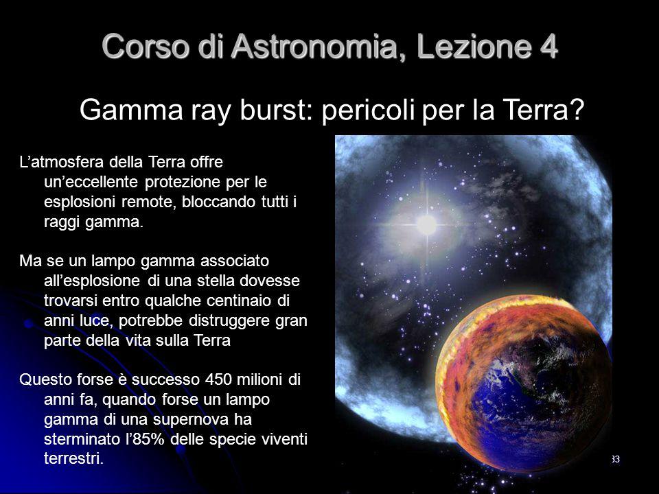 33 Gamma ray burst: pericoli per la Terra? Corso di Astronomia, Lezione 4 L'atmosfera della Terra offre un'eccellente protezione per le esplosioni rem