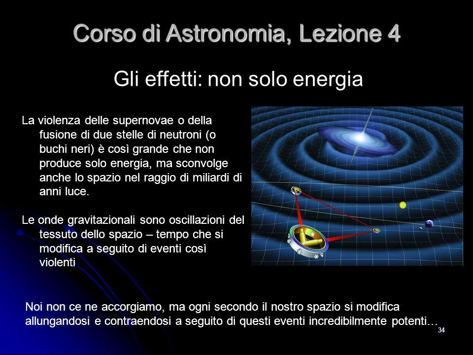 34 Gli effetti: non solo energia Corso di Astronomia, Lezione 4 La violenza delle supernovae o della fusione di due stelle di neutroni (o buchi neri)