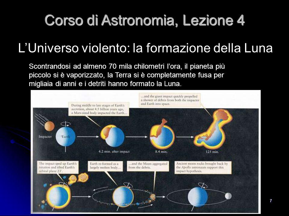 7 L'Universo violento: la formazione della Luna Corso di Astronomia, Lezione 4 Scontrandosi ad almeno 70 mila chilometri l'ora, il pianeta più piccolo