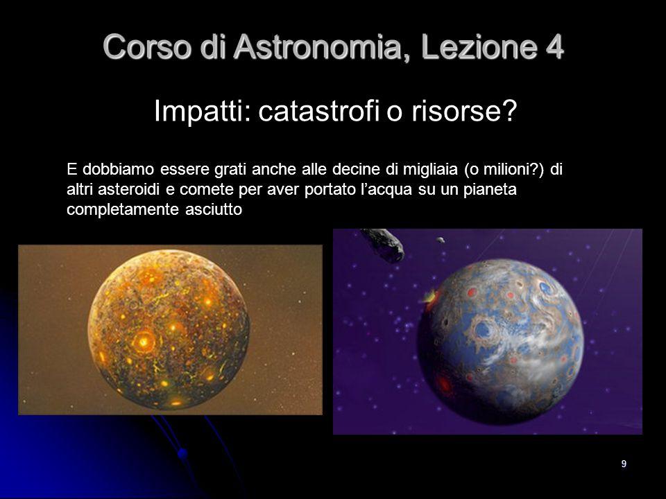 9 Impatti: catastrofi o risorse? Corso di Astronomia, Lezione 4 E dobbiamo essere grati anche alle decine di migliaia (o milioni?) di altri asteroidi