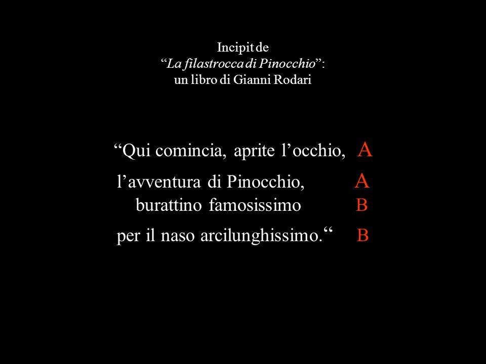 """Incipit de """"La filastrocca di Pinocchio"""": un libro di Gianni Rodari """"Qui comincia, aprite l'occhio, A l'avventura di Pinocchio, A burattino famosissim"""