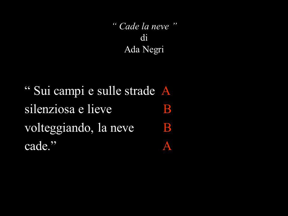 """"""" Cade la neve """" di Ada Negri """" Sui campi e sulle strade A silenziosa e lieve B volteggiando, la neve B cade."""" A"""