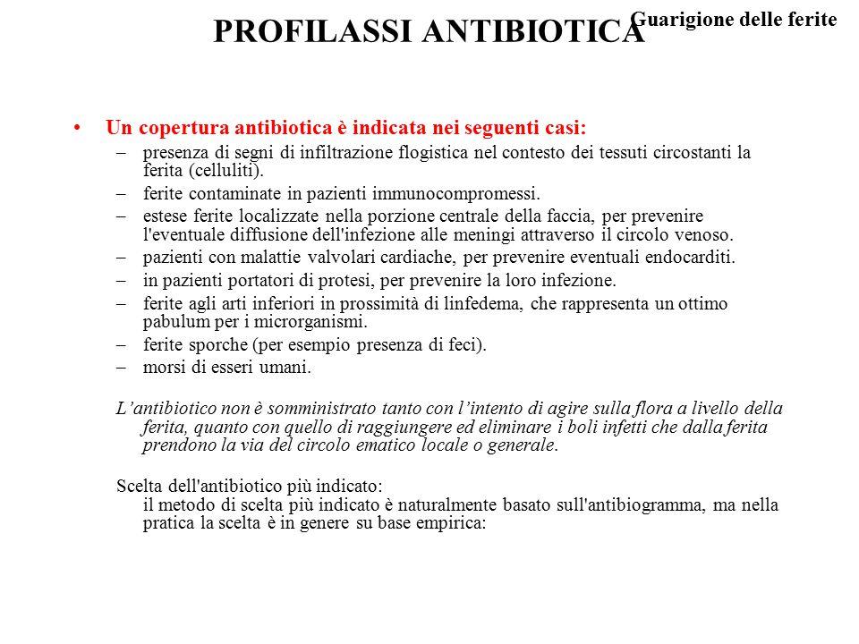 Guarigione delle ferite PROFILASSI ANTIBIOTICA Un copertura antibiotica è indicata nei seguenti casi: –presenza di segni di infiltrazione flogistica n