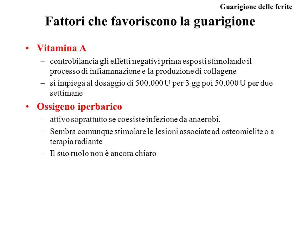 Guarigione delle ferite Fattori che favoriscono la guarigione Vitamina A –controbilancia gli effetti negativi prima esposti stimolando il processo di